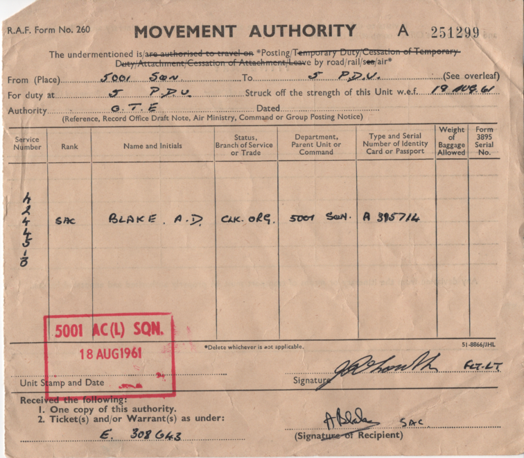 movement authority 19 aug 1961